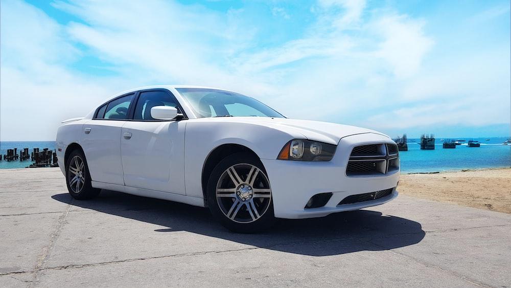 white Dodge sedan