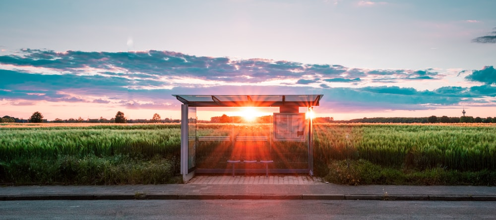 waiting shed at the farm during golden hour