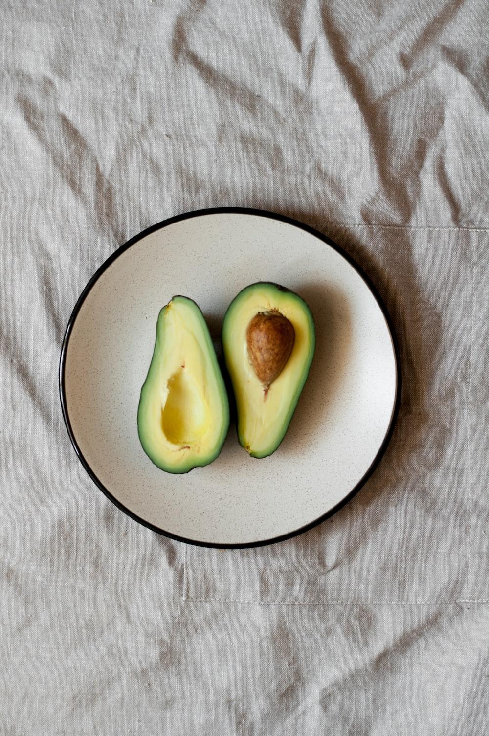 sliced avocado on plate