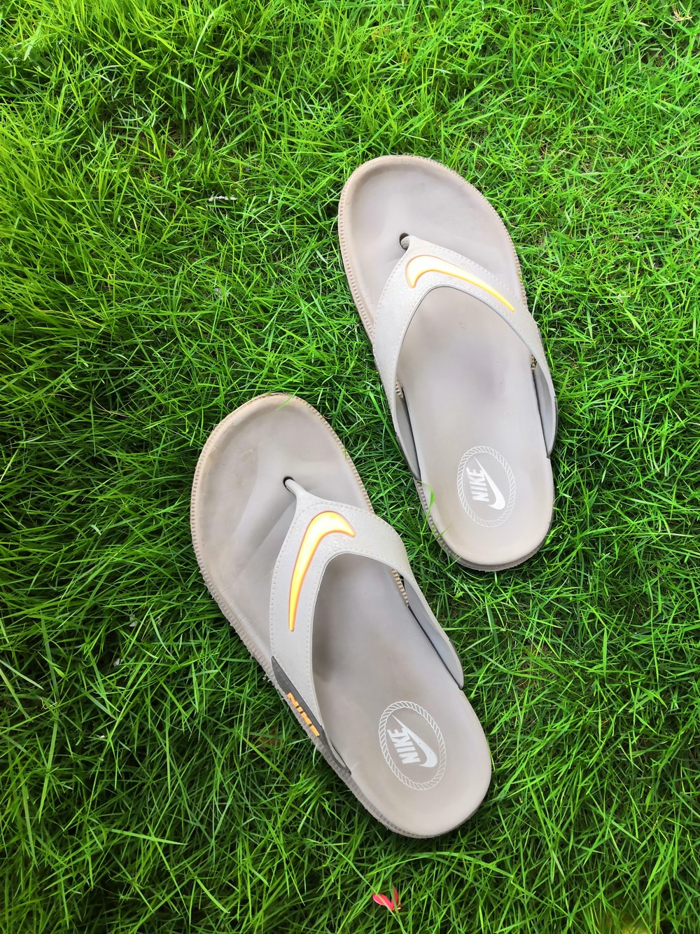 pair of gray T-strap sandals on green field