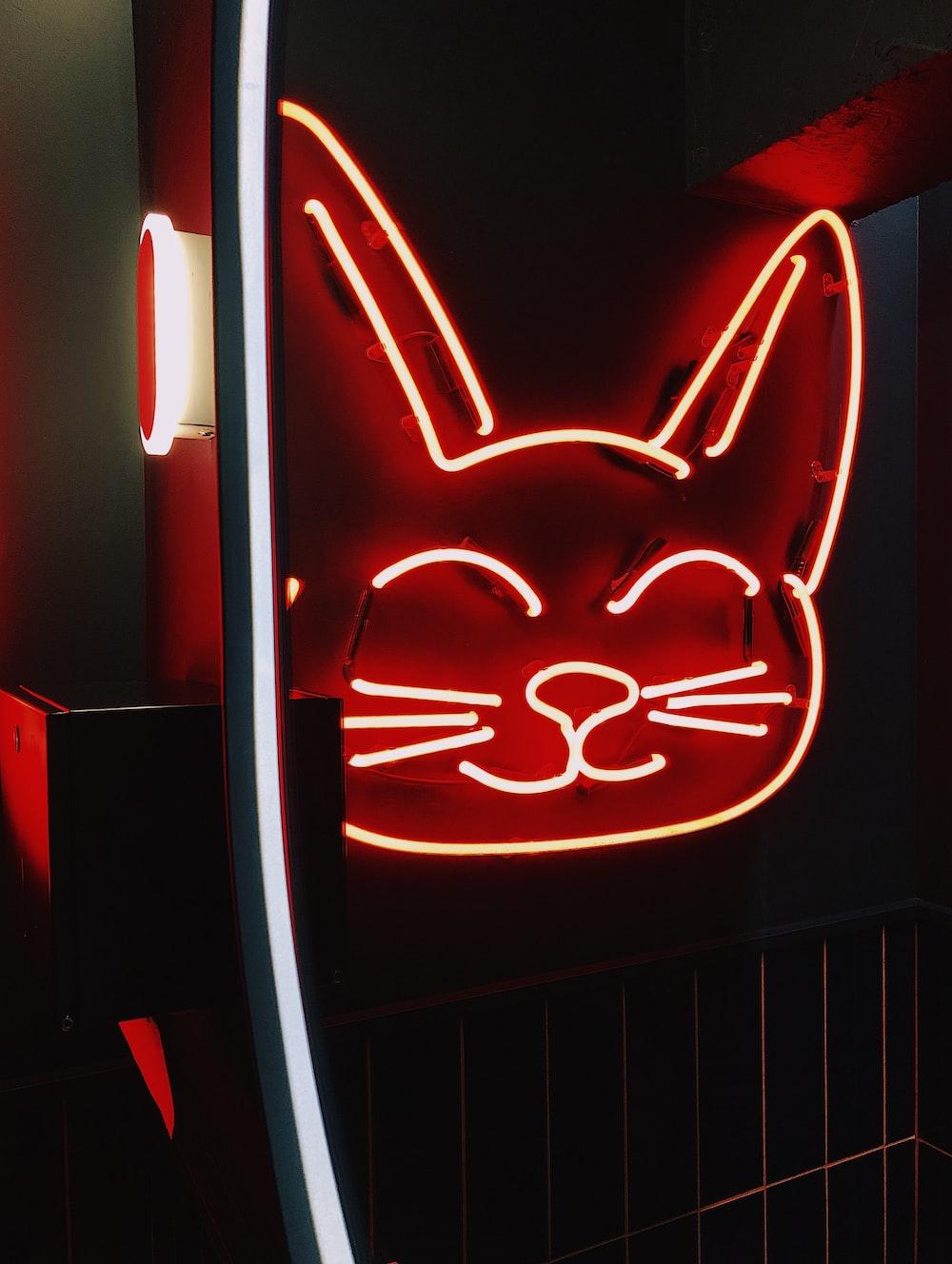 cat head neon sign