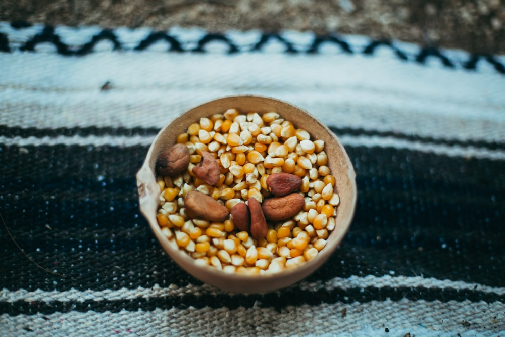bowl of corn and nuts