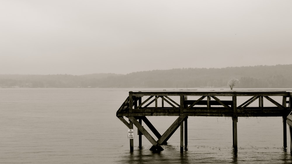 grayscale photography of wooden dock near sea
