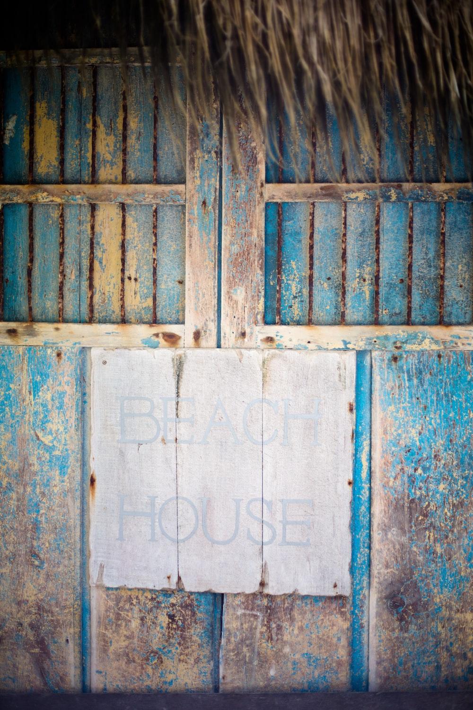 blue wooden beach house
