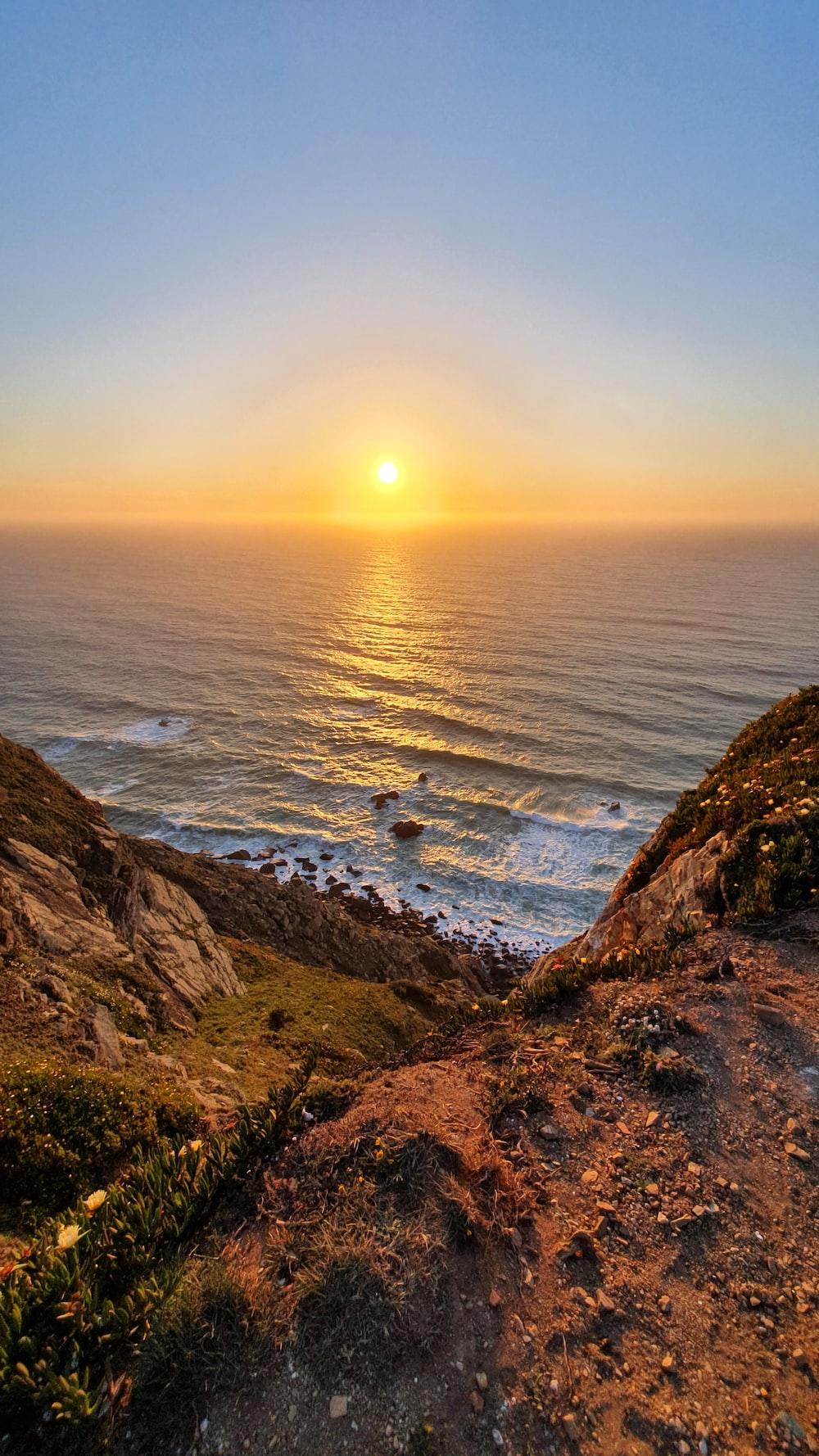 wavy ocean during golden hour