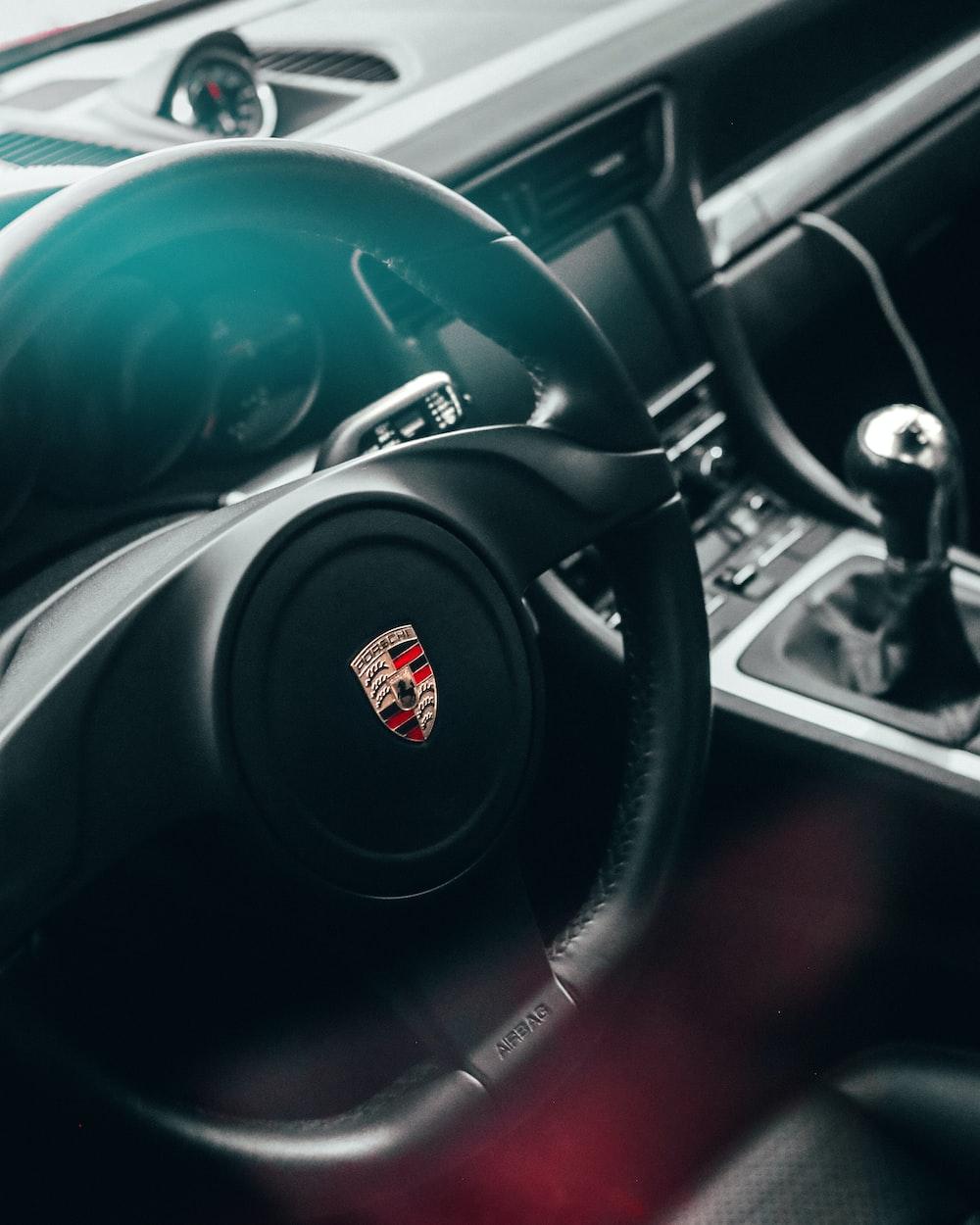 black Cadillac steering wheel