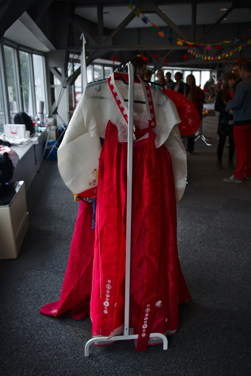hanged white and red hanbok dress