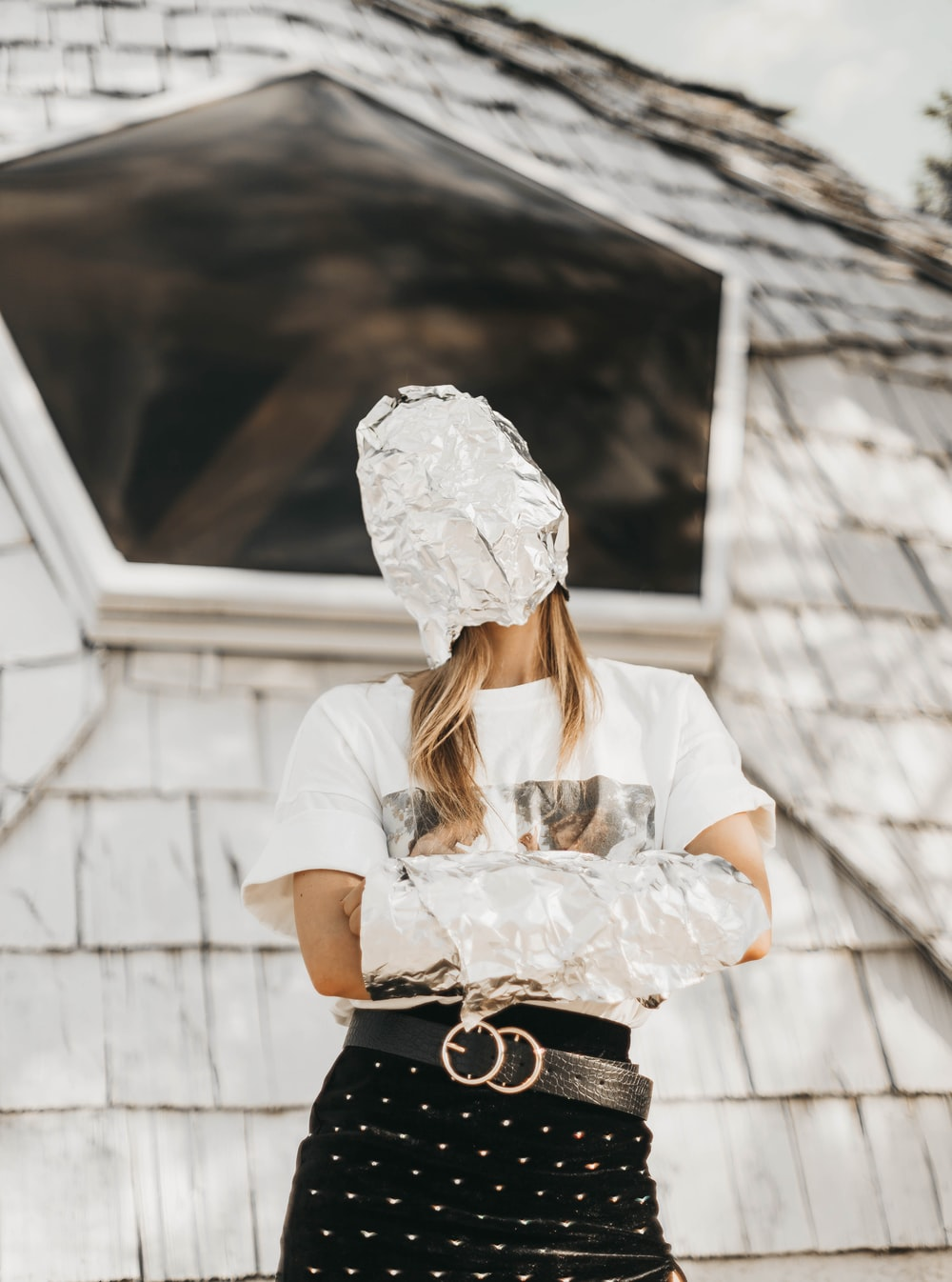 woman covered her face with foil