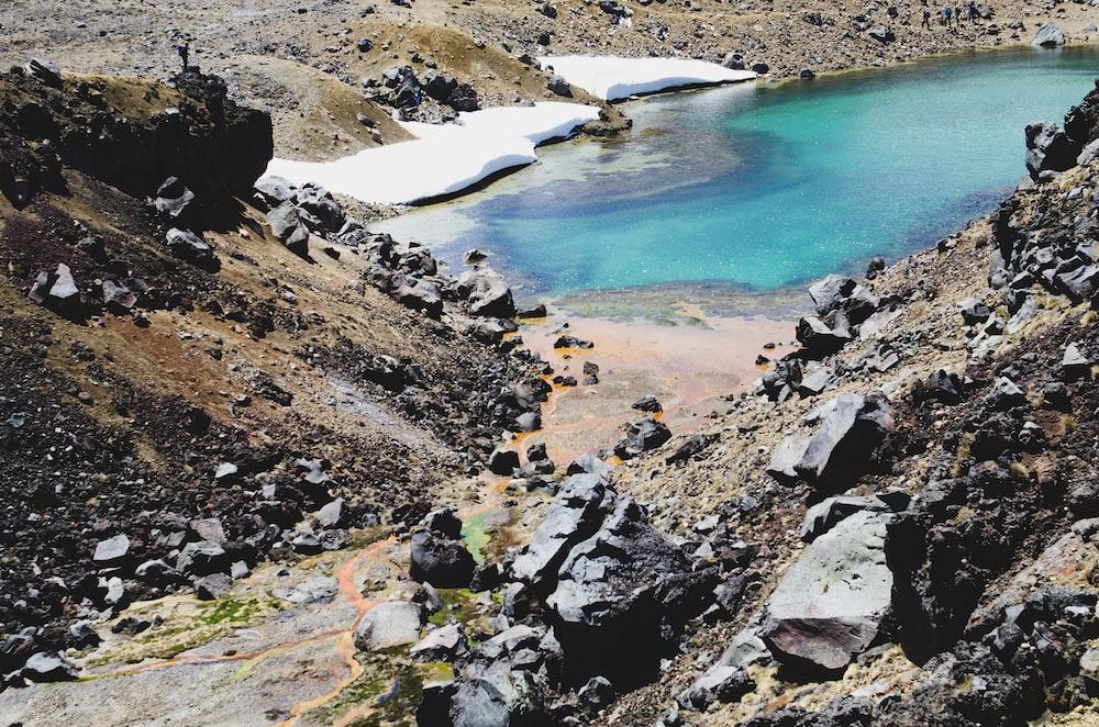 body of water between cliff