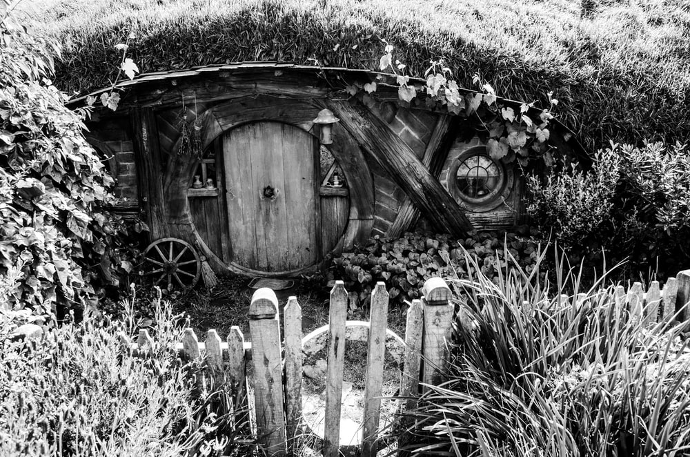grayscale photo of wooden gate