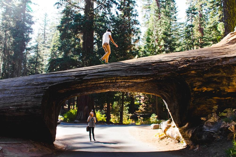 woman wearing black shirt under log