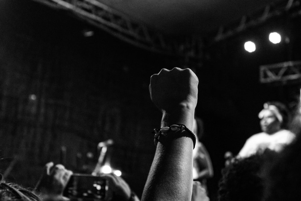 human fist on air at concert