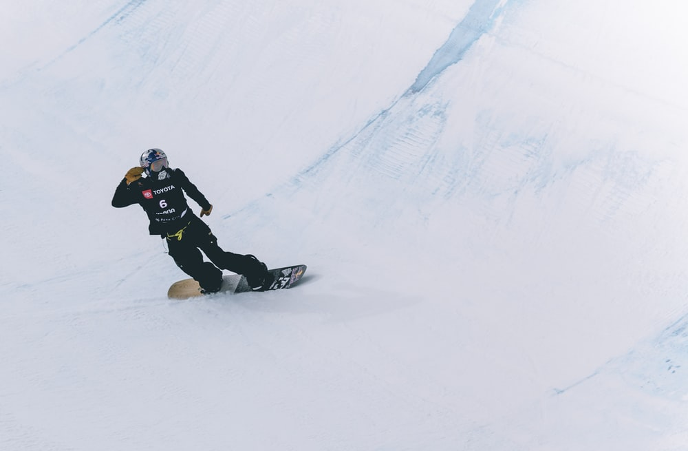 snowboarder riding down the snow slope