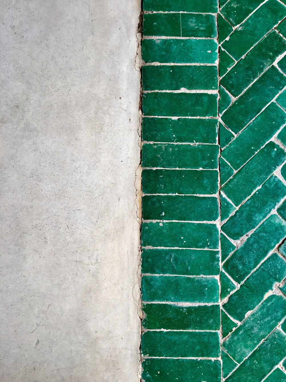 green tiled pavement