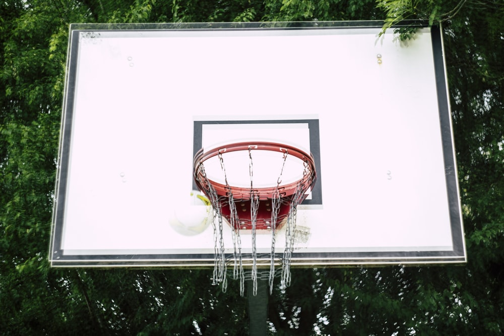basketball hoop in front of trees