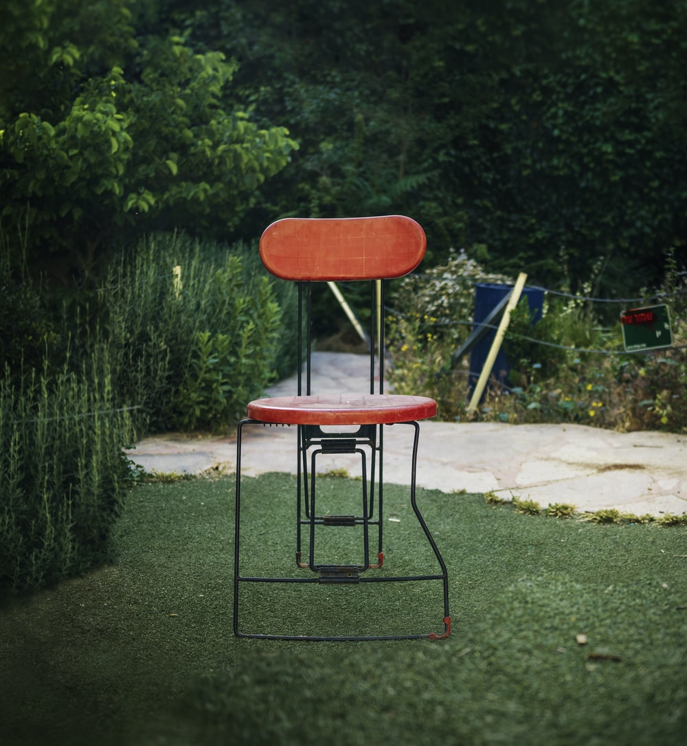 red chair near tree