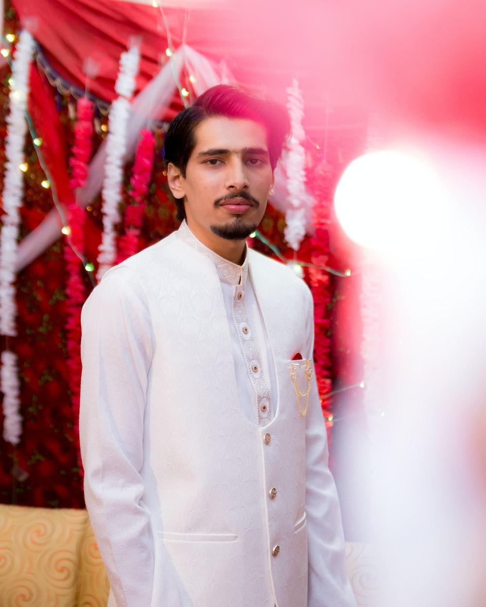 men's white shirwani coat