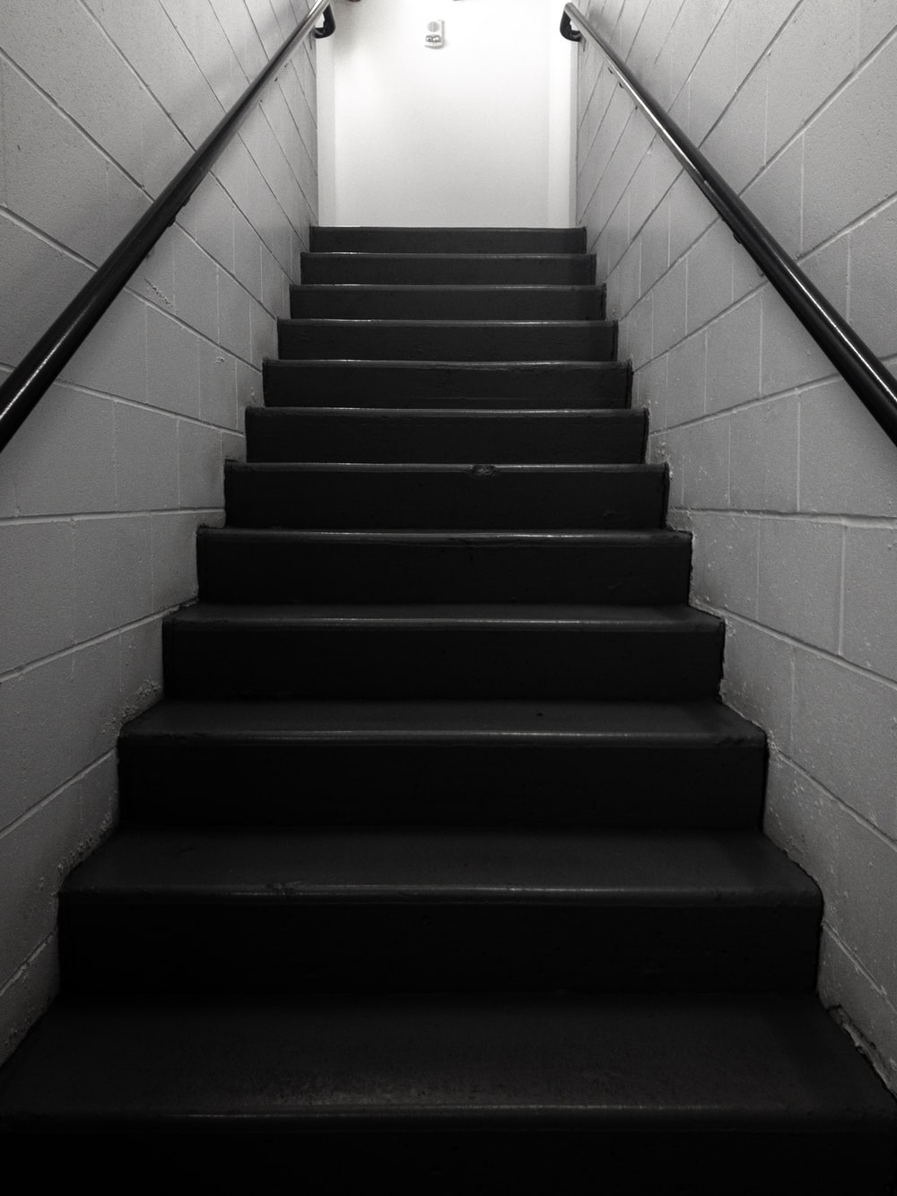 black concrete stairs