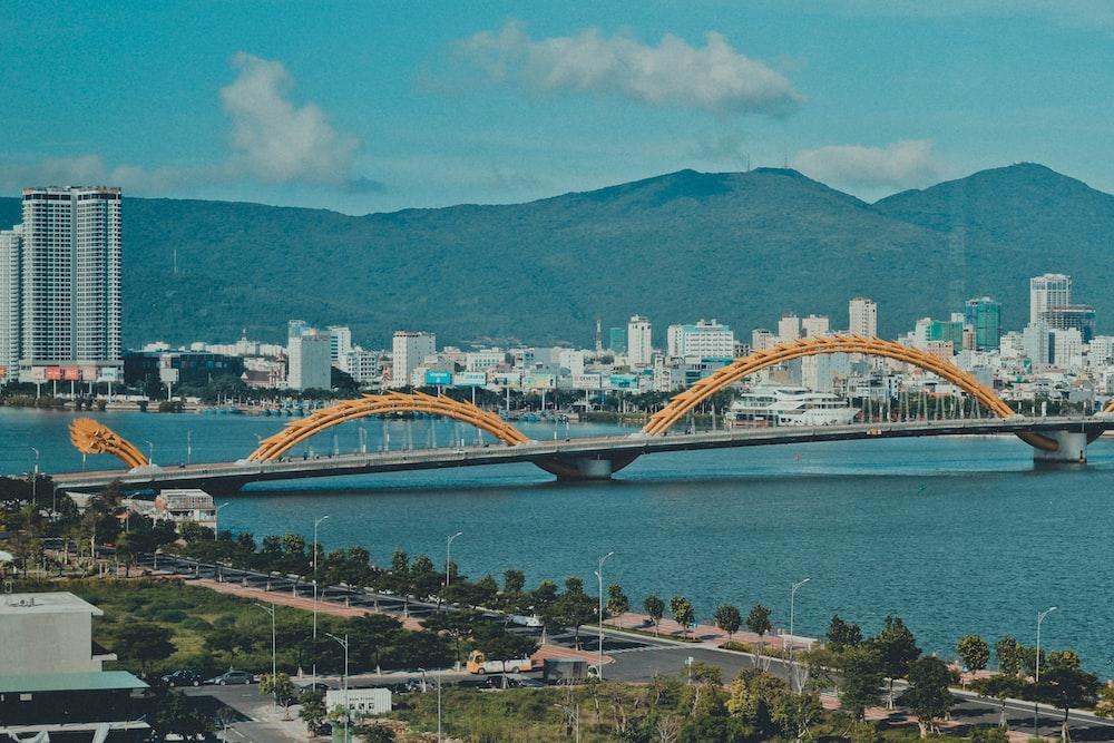 concrete bridge near city