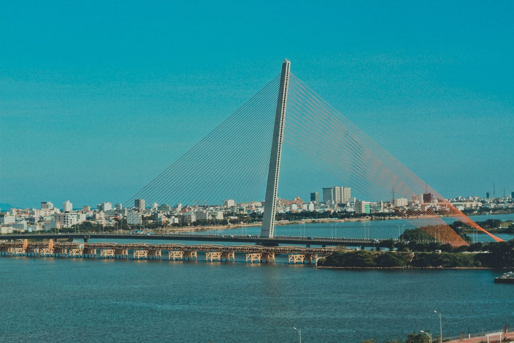 cable bridge on body of water
