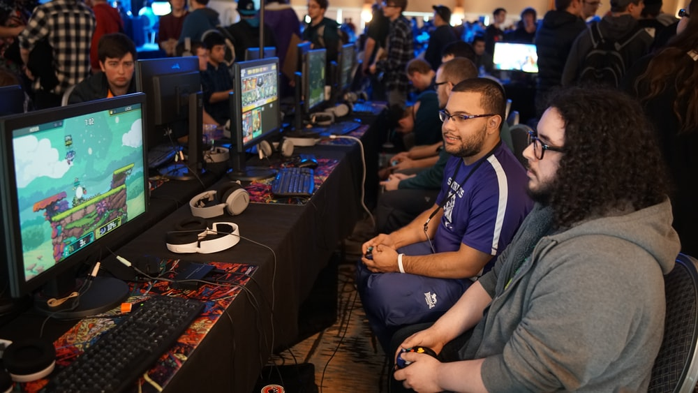 group of people playing online games