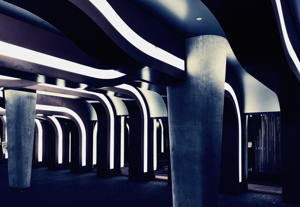building with pillars and lights