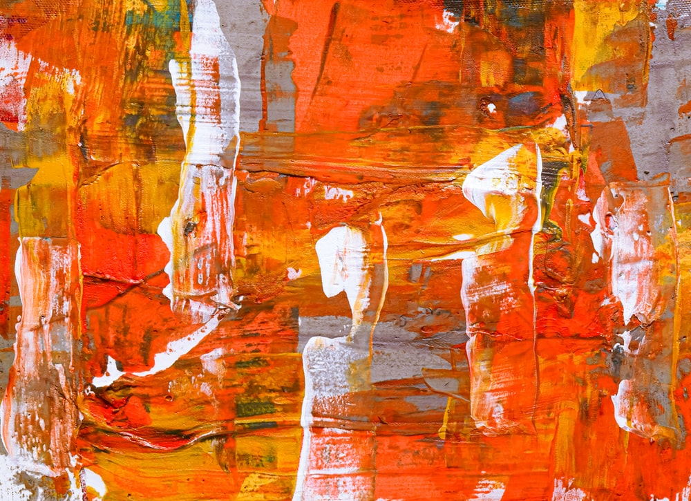 orange, red, and white abstract painting