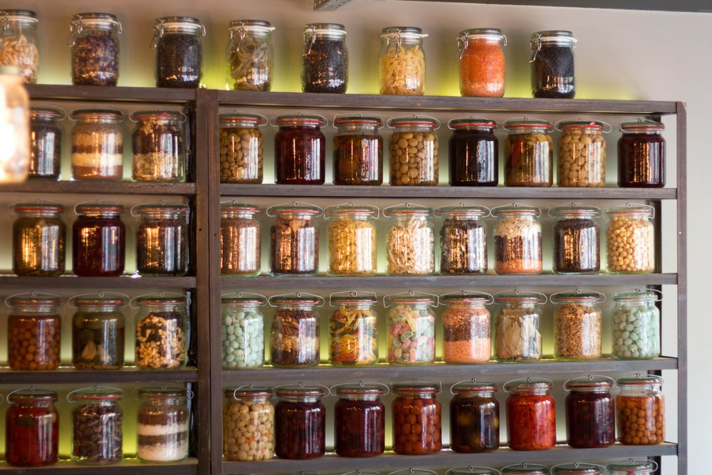 assorted-color jars