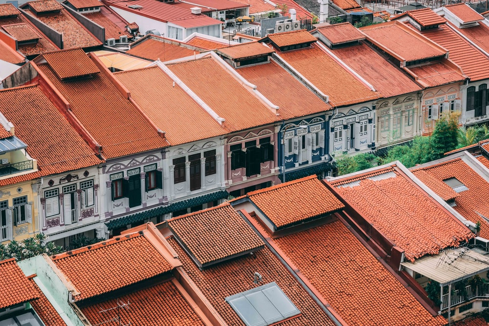 brown roof houses
