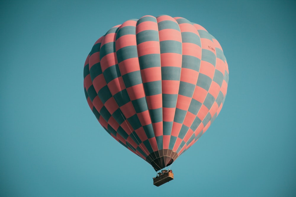 pink and grey hot air balloon