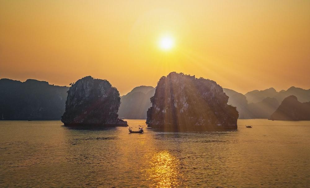 boat near rock formation