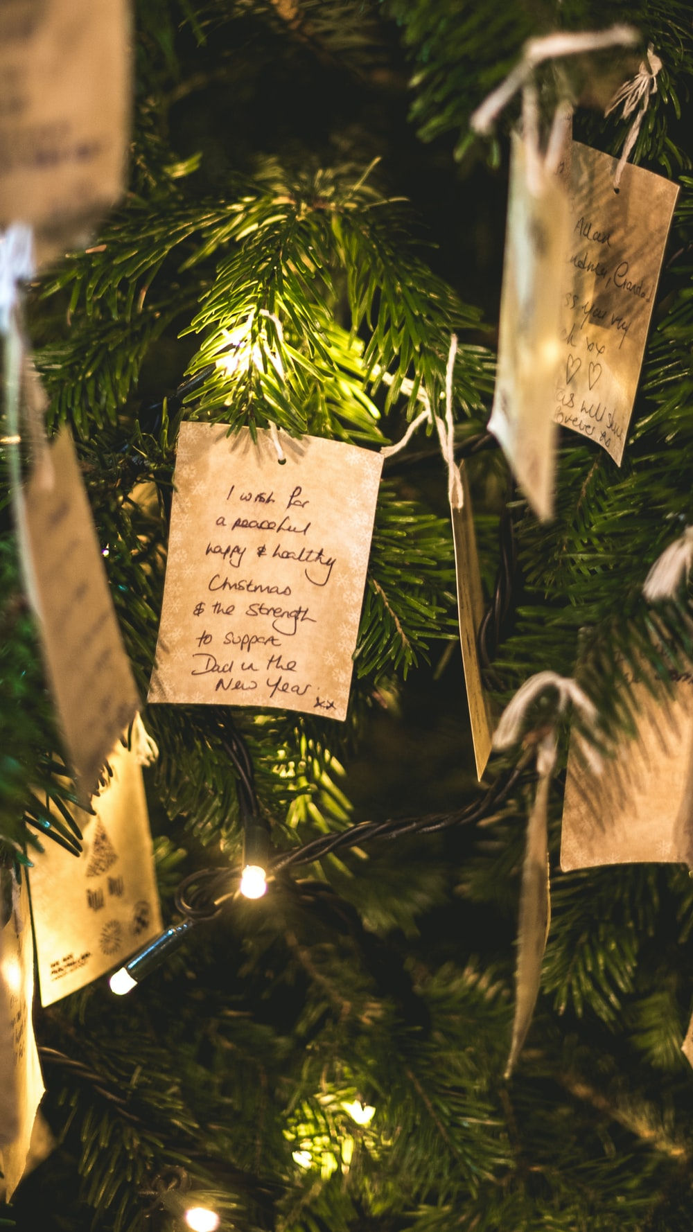 beige and black Christmas tree decor