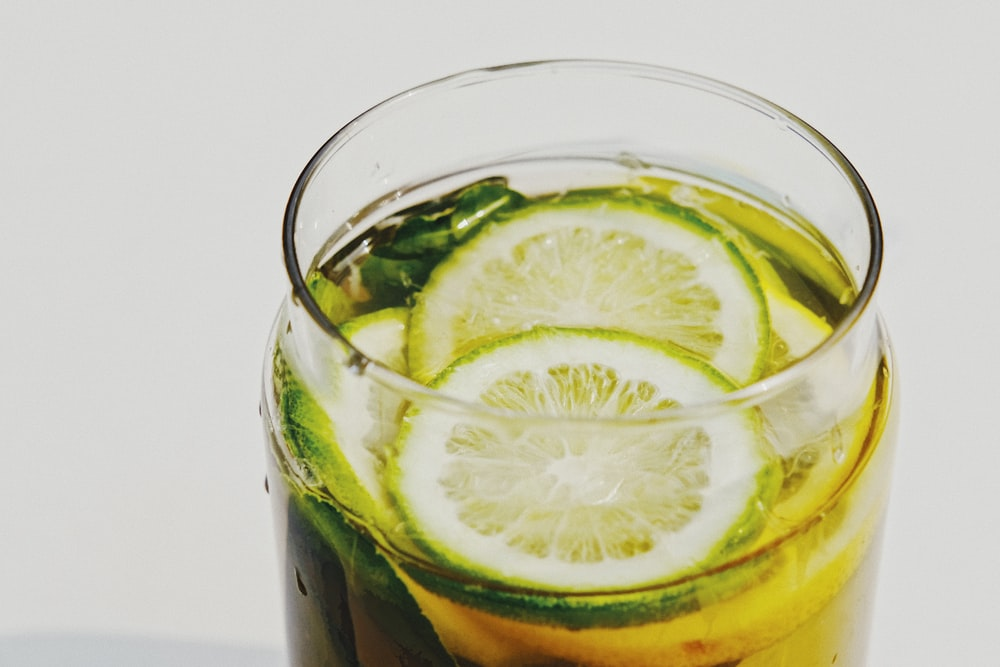 lime in clear glass cup