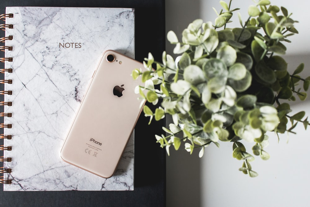 gold iPhone 8 on Notes notebook beside green plant