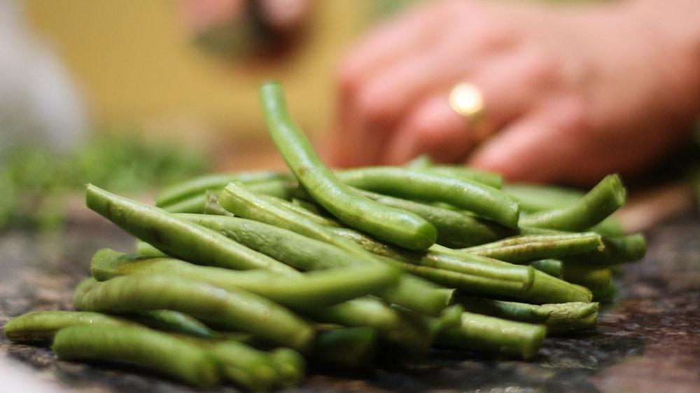 sliced green vegetables