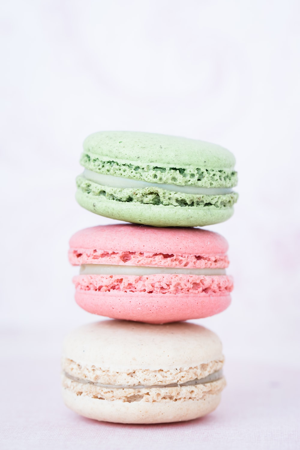 three assorted-flavor macarons