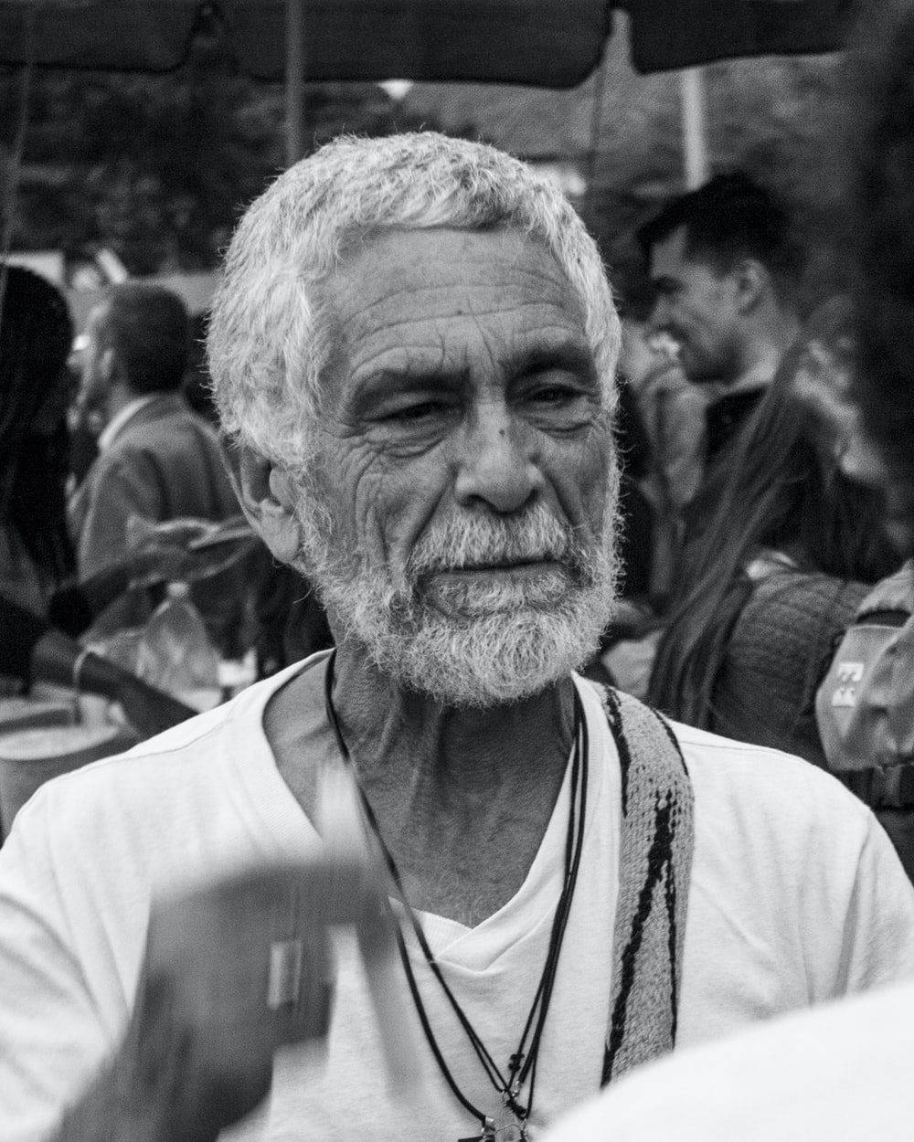 grayscale photography of bearded man