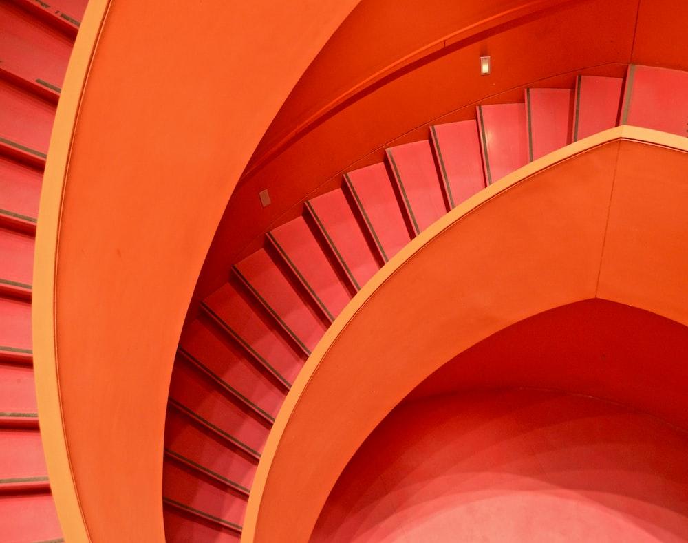 spiral orange staircase