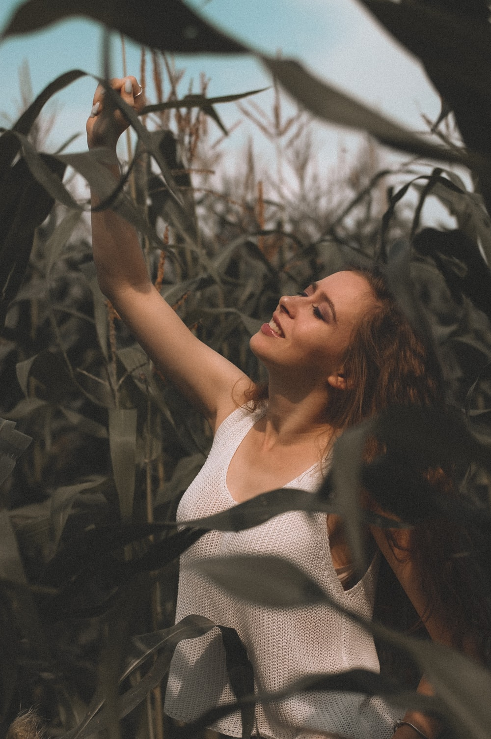 woman surrounded by corn plants