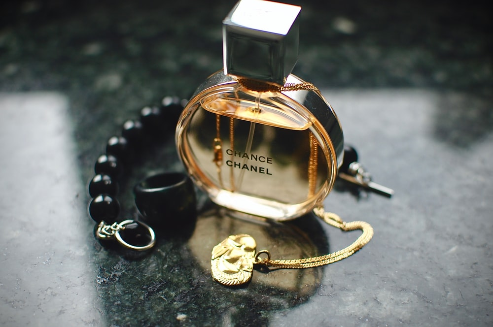 Chanel Chance glass fragrance bottle