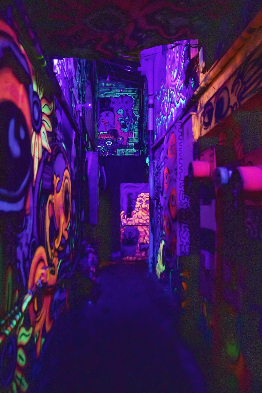 blacklit graffiti walls