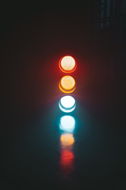 view of traffic light at night