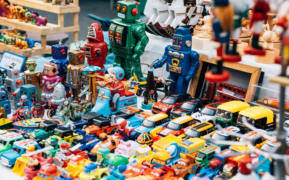 assorted-colored toys on table