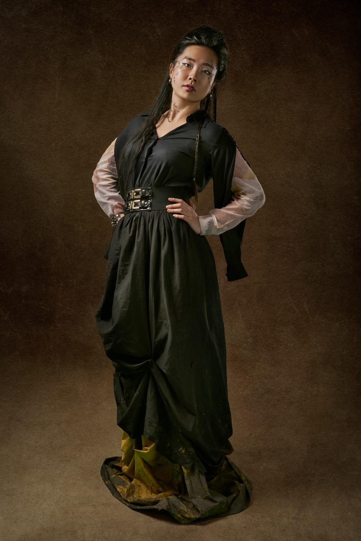 woman wearing black dressfigurin