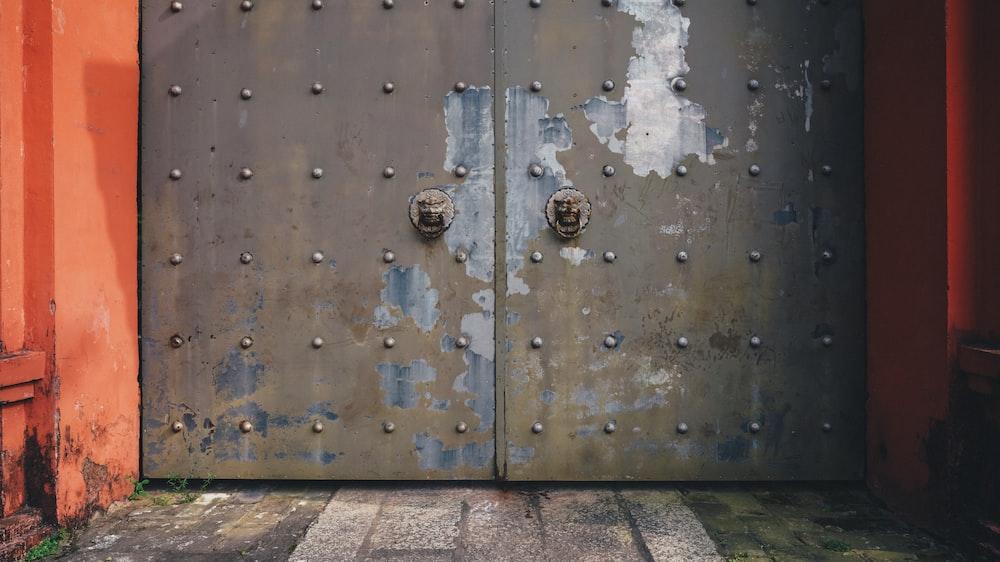brown and gray door