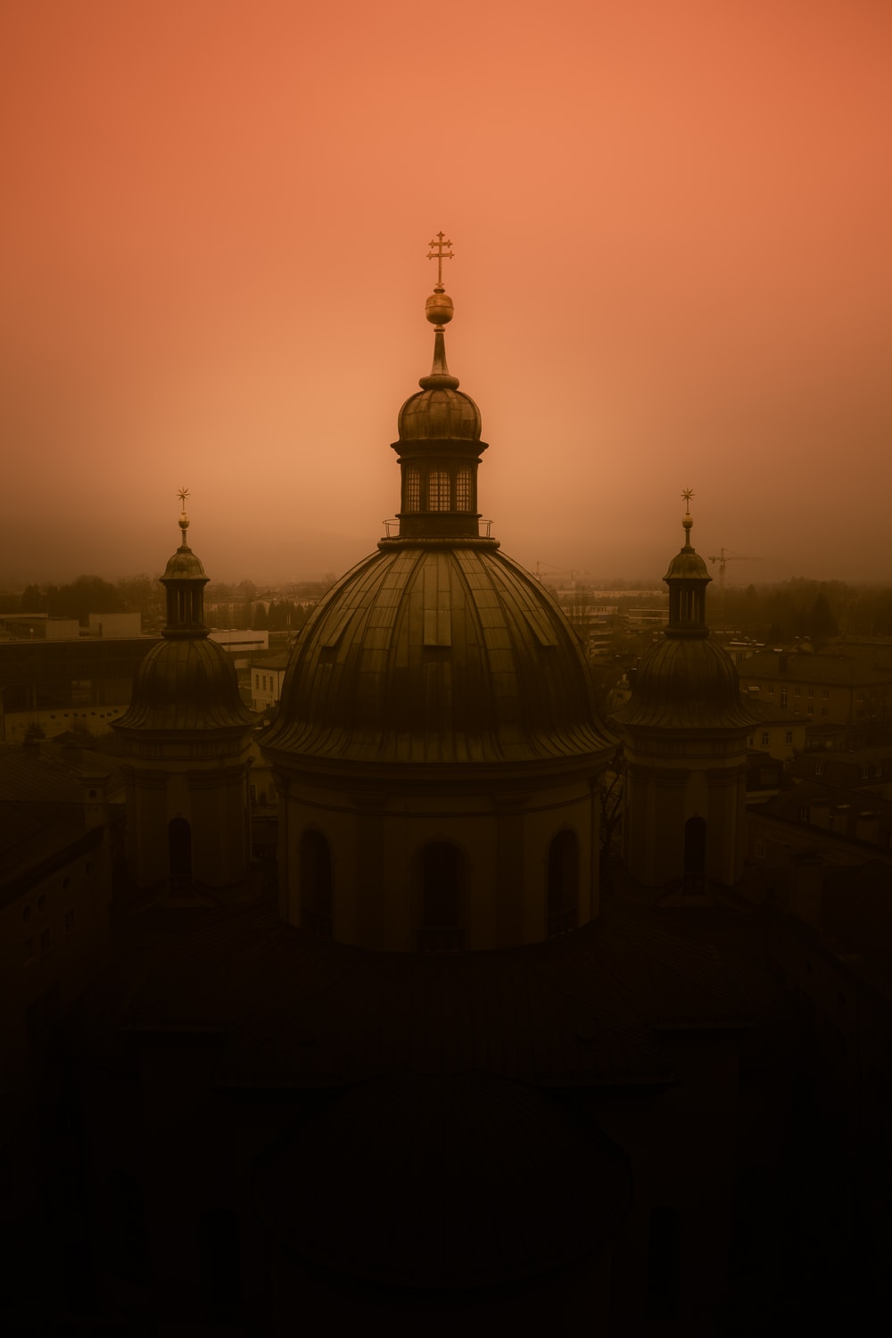 cathedral under red sky