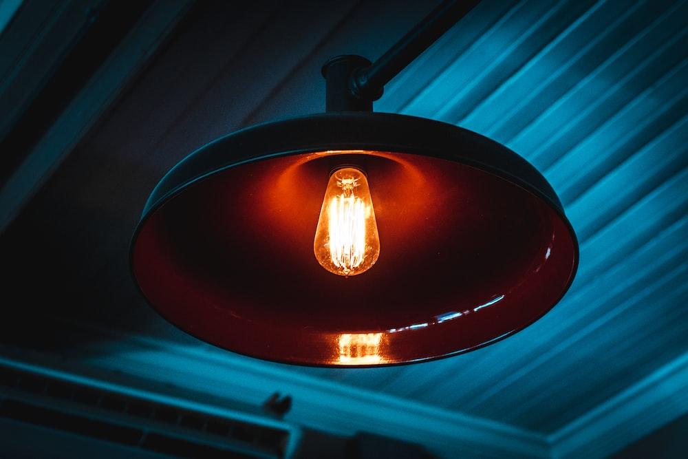 turned-on pendant lamp
