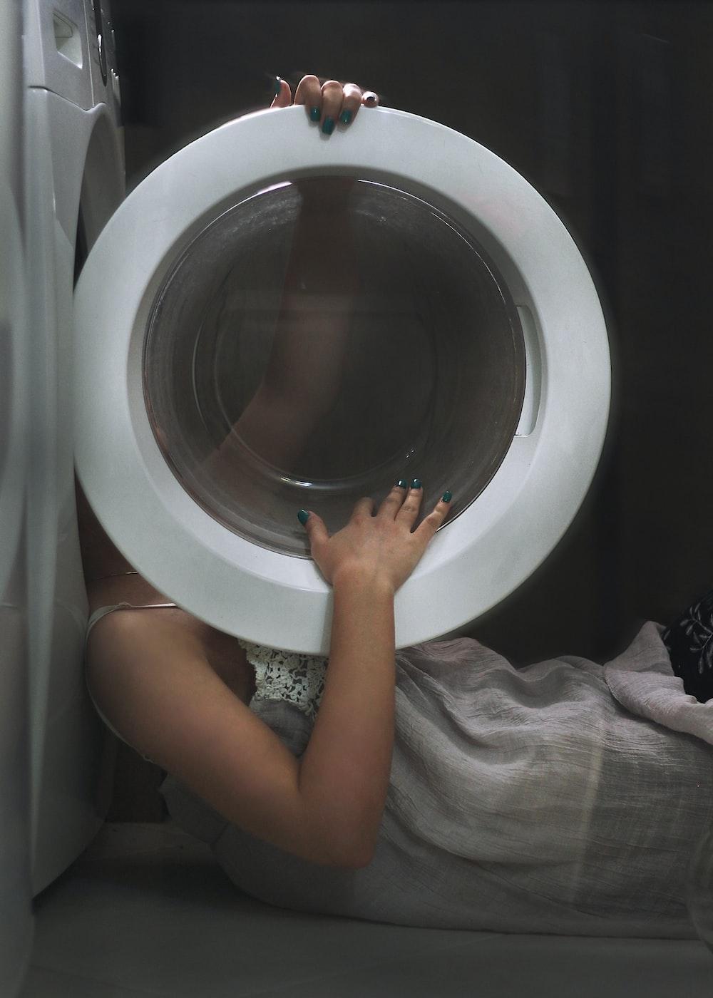 round white framed mirror