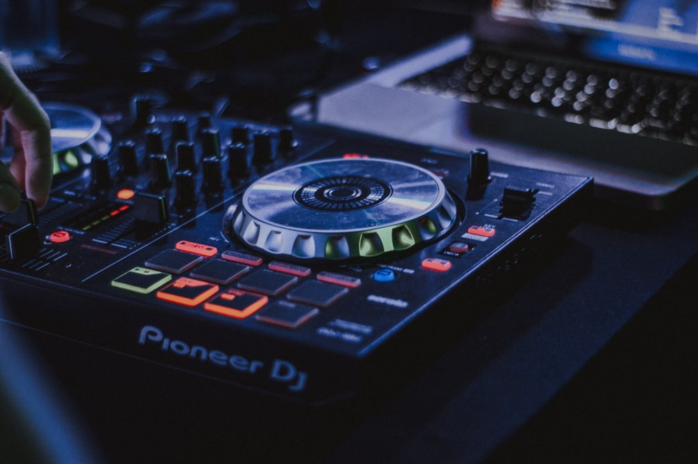 black and gray Pioneer DJ controller