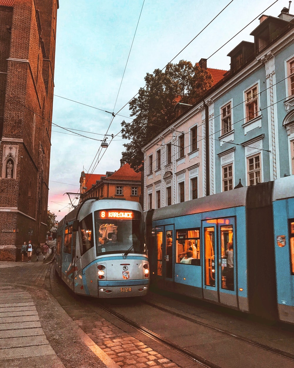 trams in city